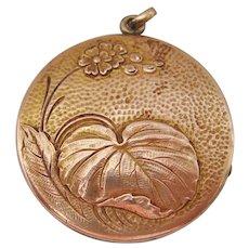 Vintage Large Gold Filled Art Nouveau Water Lily Locket