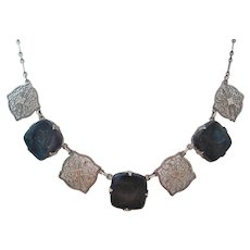 Vintage Sterling and Sodalite Art Deco Panel Necklace