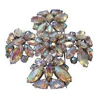 Vintage Maltese Cross Aurora Borealis Brooch -Pin- Pendant