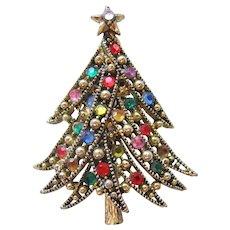 Vintage Hollycraft Rhinestone Christmas Tree Pin-Brooch