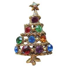 Vintage Multi Colored Rhinestone Christmas Tree Pin-Brooch
