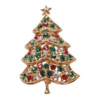 Vintage Gold tone and Rhinestone Christmas Tree Pin-Brooch