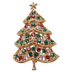 Vintage Gold tone and Rhinestone Christmas Tree Pin-Brooch