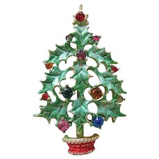 Vintage Enamel and Rhinestone Christmas Tree Pin-Brooch