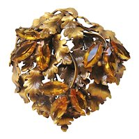 Vintage Joseff of Hollywood Brass and Amber Rhinestone Falling Leaf Brooch-Pin