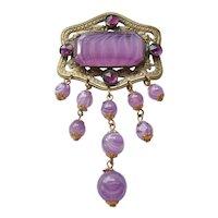 Vintage Czech Brass Purple Art Glass and Foil Back Rhinestone Brooch- Pin