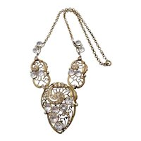 Vintage Art Deco Gold Tone and Clear Rhinestone Necklace