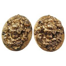 Vintage Pair Large Brass Repousse Floral Dress Clips