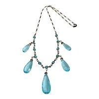 Vintage Edwardian Light Blue Faceted Glass Necklace