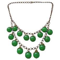 Vintage Apple Green Bakelite Bib Necklace