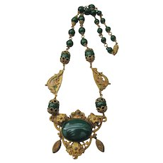 Vintage Signed Czech Brass and Green Glass Necklace with Sea Serpent