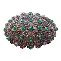 Vintage Large Oval Floral Pot Metal and Green Rhinestone Brooch-Pin