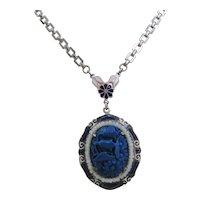 Vintage Blue Art Deco Czech Glass and Enamel Necklace