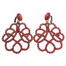 Vintage 1960 Ear K.J.L Spanish Flamenco Coral Rhinestone Earrings