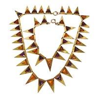 Vintage Art Deco Geometric Gold Tone-Amber and Purple Glass Necklace and Bracelet Set