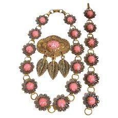 Vintage Brass and Salmon Art Glass Parure-Necklace-Bracelet and Brooch