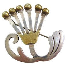Vintage Mexican Sterling Flower Brooch-Pin