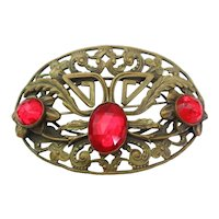 Vintage Transitional Art Nouveau-Arts and Crafts Brass and Red Glass Sash Pin-Brooch