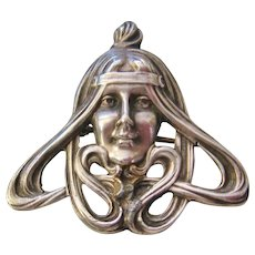 Vintage Art Nouveau Sterling Silver Woman's Face with Flowing Hair Brooch-Pin
