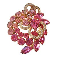 Vintage Weiss Pink and Clear Rhinestone Brooch-Pin