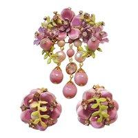 Vintage Mid Century Purple Floral Enamel Brooch and Earrings Set