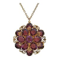 Vintage Purple Open Back Crystal-Glass and Gold Tone Flower Necklace