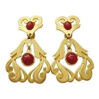 Vintage Brushed Gold tone Scroll Door Knocker and Red Earrings