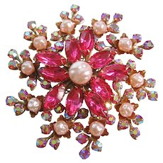 Vintage Large Flower Pink-Aurora and Simulated Pearl Brooch-Pin