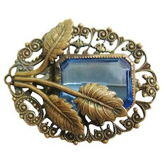 Vintage Czech Brass and Blue Glass Brooch- Pin