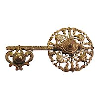 Vintage Openwork Brass Key Brooch-Pin