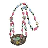 Vintage Czech Satin Glass and Brass Floral Necklace