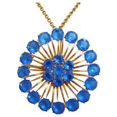 Vintage Huge Brass and Cobalt Blue Open Back Glass Pendant Necklace