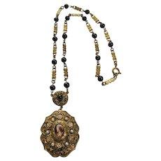 Vintage Czech Brass with Female Portrait Transfer Glass Necklace Pendant