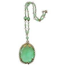 Vintage Art Deco Czech Grass Green Glass and Brass Necklace