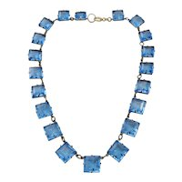 Vintage Riviere Czech Faceted Open Back Blue Glass and Brass Necklace