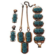 Vintage Selro Copper and Simulated Turquoise Blue Blossom Flower Parure- Set