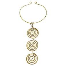 Vintage Brass Swirl Statement Necklace