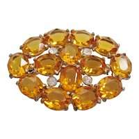 Vintage Open Back Yellow and Clear Glass Brooch-Pin