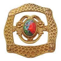 Victorian Brass and Art Glass Sash Pin-Brooch