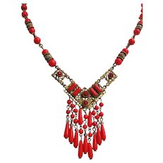 Vintage Signed Czech Brass and Lipstick Red Glass Necklace