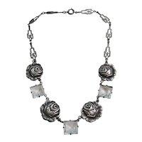 Vintage Sterling Art Deco Rock Crystal and Rose Necklace