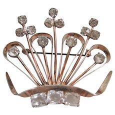 Vintage Sterling Crystal and Rhinestone Crown Brooch