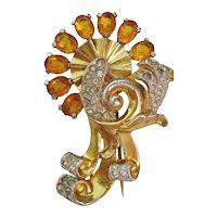 Vintage Retro Modern Fur Clip- Gold tone Amber and Clear Rhinestone Swirl Brooch-Pin