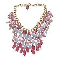 Vintage Pink and White Art Glass Fringe Bib Statement Necklace
