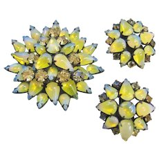 Vintage Givere Art Glass Brooch and Earring Set