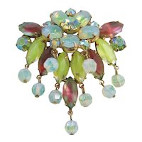Vintage Yellow- Green- White Givere Art Glass and Crystal Brooch-Pin
