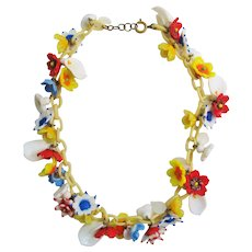 Vintage Art Glass Flower and Celluloid Necklace