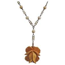 Vintage Art Deco Carved Bakelite Rose Necklace