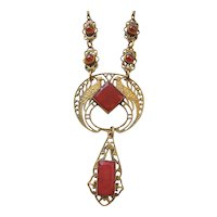 Vintage Art Deco Brass and Carnelian Red Glass Peacock Necklace