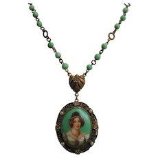 Vintage Czech Woman with Jewelry Portrait Necklace